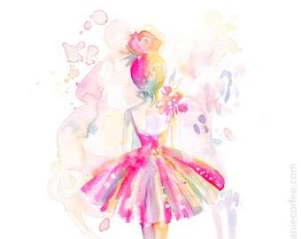 Rosa Ballerina - Druck, Ballett, Aquarell, Spritzer Mädchen Kunst, Kinderzimmer Kunst, Malerei, Tutu Kunst
