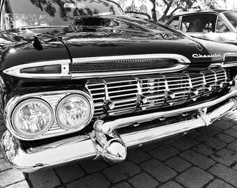 1959 Chevrolet Biscayne Car Photography, Automotive, Auto Dealer, Muscle, Sports Car, Mechanic, Boys Room, Garage, Dealership Art