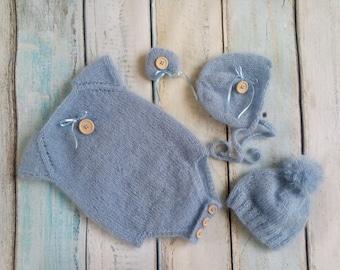 Newborn photography prop, knitted set- body, bonnet, heart, hat