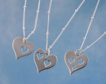Love Necklace - Sterling heart charm with 1,2 or 3 heart cutouts on delicate sterling silver satellite chain - family- free shipping USA
