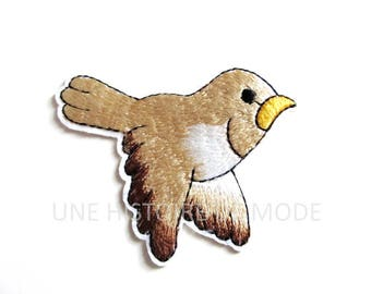 Coat, fusible patch embroidered bird to sew or iron 71 x 55 mm - bird - patch - patch garment - fusible pattern