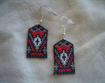 navajo bead designs. Navajo Rug Pattern Beaded Earrings, Authentic Native American Hand Made, Delica Beads, Brick Bead Designs C