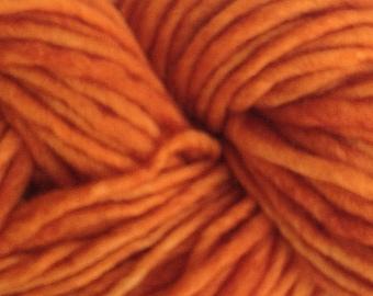 Orange Wool Yarn Bulky Chunky Weight Hand Painted Wool Yarn Pencil Roving in Land Orange 60 yards Hand Dyed
