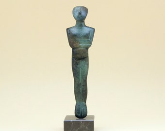 Greek Cycladic Bronze Figurine, Metal Sculpture Abstract Art, Greek Statue, Museum Replica, Minimalist Cycladic Art, Home Decor