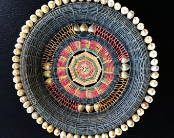Micronesia Hand Woven Cowry Shell Basket Nice Large size part of a special collection Vintage great colors