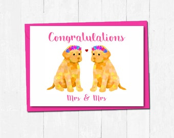 Lesbian wedding card, Bride and bride labrador card, Mrs and Mrs wedding card, Cute dog wedding card, Dog love card, Lesbian engagement card
