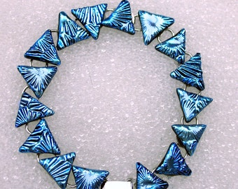Bracelet, Dichroic Fused Glass Bracelet in Sparkling Silver Blue Triangles