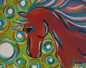 Red Horse Print, 8x10 Inch Print, Colorful Red Horse, Horse Lover Art, Gift Idea, Horse Wall Decor, Animal Art Print, Horse Art Artwork