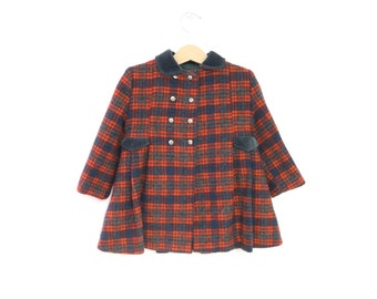 Vintage Baby Clothes, 1950's Emerald Green and Bright Red Plaid Velvet and Wool Double Breasted Baby Girl Coat Set, Baby Coat, Size 3T-4T