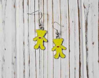 Teddy Bear Earrings, Dangle Earrings, Womans Jewellery, Gift Ideas for Her, Stainless Steel Hooks
