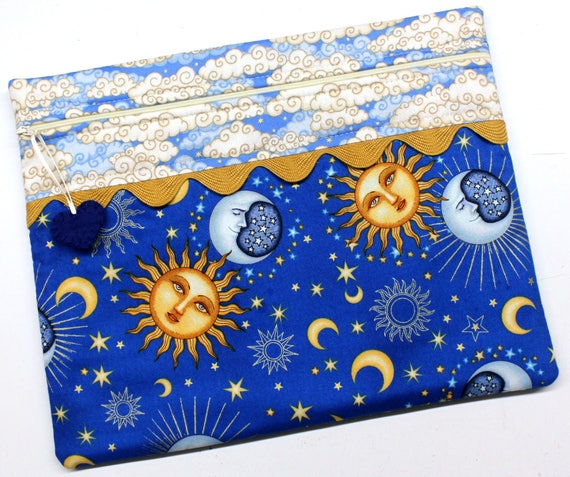 Moon and Stars Cross Stitch Embroidery Project Bag