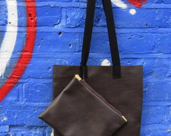 BOS Vegan Leather Tote with Pouch