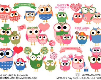 Mother's day owl Digital clip art for Personal and Commercial use - INSTANT DOWNLOAD