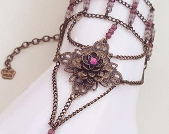 Steampunk Chain & Bead Slave Bracelet