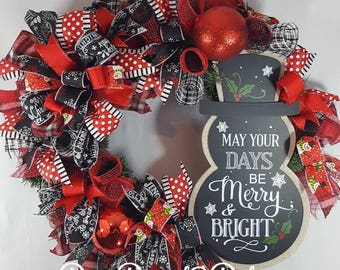 Merry and Bright snowman wreath, Christmas wreath, Holiday decor, Snowman decor, Deco mesh wreath