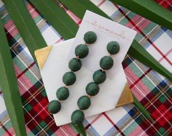 "The ""Caicos"" Bon Bon Pom Pom Earring; Palmetto Green - 4 Inches"