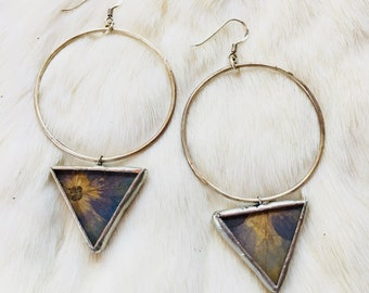 ORBIT earrings in hydrangea blossom