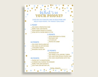 What's In Your Phone Baby Shower What's In Your Phone Confetti Baby Shower What's In Your Phone Blue Gold Baby Shower Confetti What's cb001