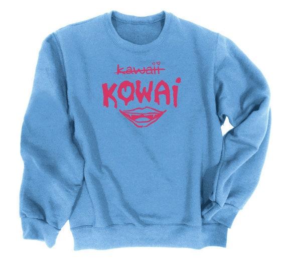 Goth sweatshirt Vampire mouth - Kowai not Kawaii - nu goth clothing gothic lips sweatshirt rave pastel goth aesthetic Zerx8Q