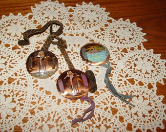 Vintage Hand Painted Native American Copper & Leather Concho Styled Souvenirs ~ Bemidji MN