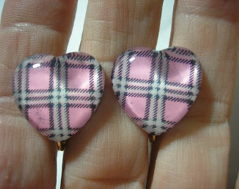 Earring - Clip - Tween - Plaid Heart - Pink - 3/4""