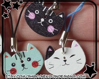 Happy Cat Cell Phone Charm - Japanese maneki neko beckoning cat Japan anime manga cellphone lanyard lariat kawaii dust plug kitten kitty