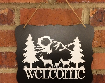 Adirondack Welcome Sign in Chalkboard Style | Front Door Sign |  Vinyl Sign
