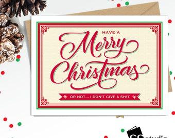 Funny Christmas Card, Merry Christmas, Holiday Cards, Santa, Xmas Cards, Naughty Cards, Blank Card, Funny Greeting Cards, Humorous