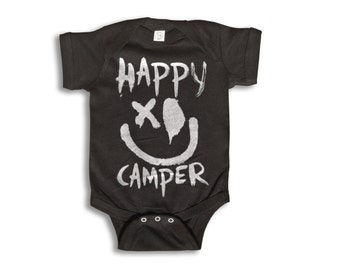 Baby One Piece - Happy Camper - Baby Clothes - 100% cotton Short Sleeve 6 month to 24 Months - Baby Boy - Baby Girl
