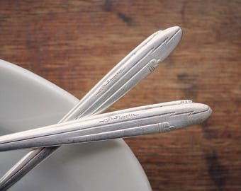 American Airlines Flagship Spoons, Souvenir Silver Spoons, Golden Age of Travel, Airplane Shaped Spoons, World Travelers, Airplane Silver