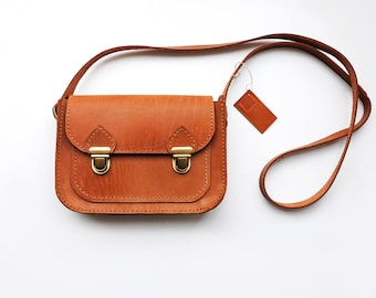 Tan leather crossbody bag, Small brown messenger bag, Cross body shoulder purse