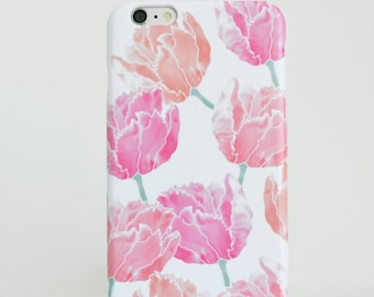 Tulipe rose coque, iPhone 8 cas, Samsung Galaxy S8 iPhone 6 s coque iPhone SE cas Floral iPhone 6 Plus étui cadeau pour son Samsung S7