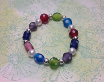 Multicolored Polka Dot Glass and Faux Pearl Beaded Bracelet