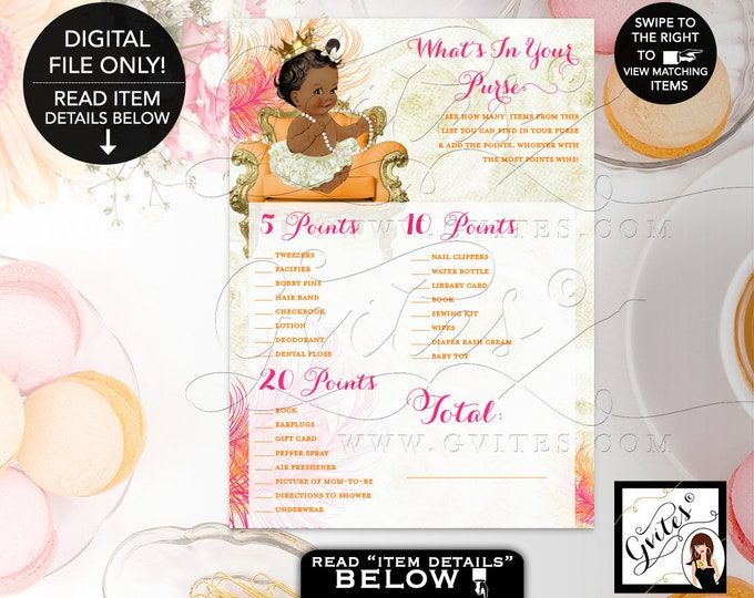 """What's In Your Purse Baby Shower Printable Game, Pink and Orange, Gold, Ivory, Princess Girl Vintage Crown Pearls 7x5"""" Gvites"""