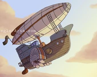 Steampunk Airship Print