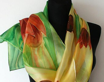 Hand painted silk scarf. Silk scarf. Spring tulips. Red and orange tulips. Yellow, green. Painted art scarf.