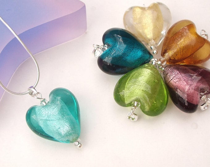 Glass Heart Necklace Sterling Silver glass Heart pendant necklace in teal or aqua blue peridot green, gold, purple amber glass heart Jewelry