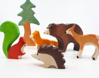 Waldorf Toys, SALE Wooden toys, Wild animal toy set, Wooden toys, Forest Set, Waldorf wood toys, Zoo toys, woodland animals, Baby shower
