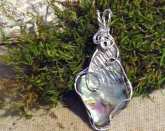 Wire-wrapped Free Form Paua Shell Pendant