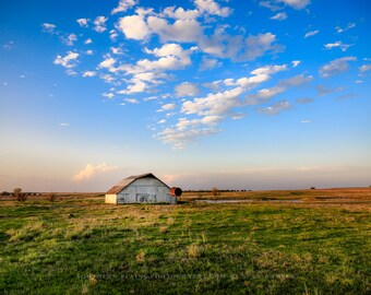 Oklahoma Landscape Photography Print - Fine Art Photograph of White Barn Under Blue Sky Great Plains Home Decor Prairie Artwork Picture
