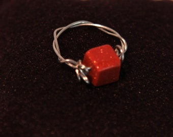 Goldstone and Wire Ring