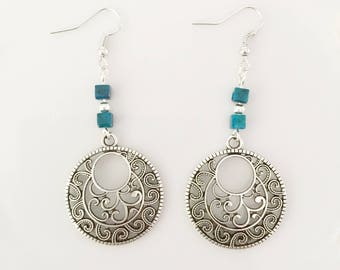 silver plated dangle earrings