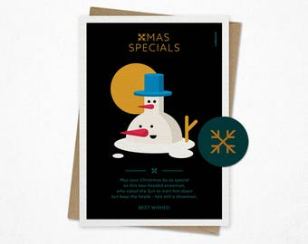 Xmas Specials | Funny Christmas card | Holiday card | Giclee print | Snowman card