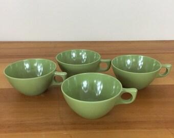 30% Off Sale Vintage Aztec MELMAC Melamine Avocado Green Tea Cups, Set of 4