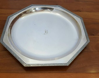 Antique VINERS Of SHEFFIELD Silver Octagonal Large Serving/Buffet Tray, Mono J