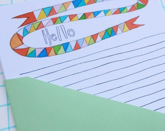 Hello Stationery Paper Set, watercolor lined letter writing paper