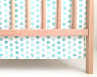 Crib Skirt Watercolor Turquoise Dots. Baby Bedding. Crib Bedding. Crib Skirt Boy. Baby Boy Nursery. Aqua Dot Crib Skirt. Aqua Crib Skirt.