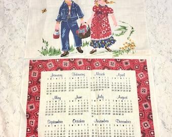 """Vintage Calendar Towel. """"Sharing is Caring."""" 1977. Boy and Girl. Linen Tea Towel. Boho Cottage. Calendar Towel."""