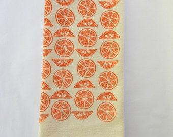 Flour Sack Towel, Hand Printed, Citrus Print, Natural Cotton, Choose Your Color