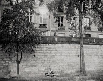 man on bench, River Seine, Paris 2014.